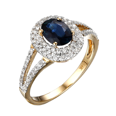 Deep Blue Sapphire Ring 18K Yellow Gold