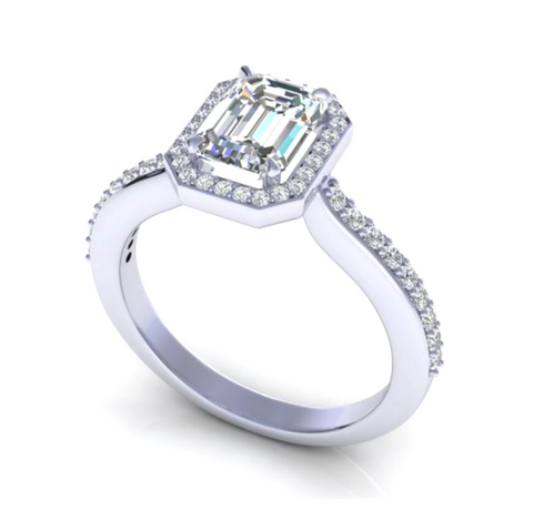 Emerald and Round Cut Diamond Engagement Ring White 18K Gold