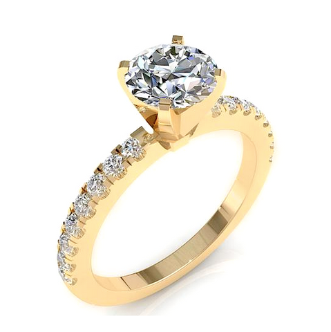 Round Cut Diamond Engagement Ring 18K Gold