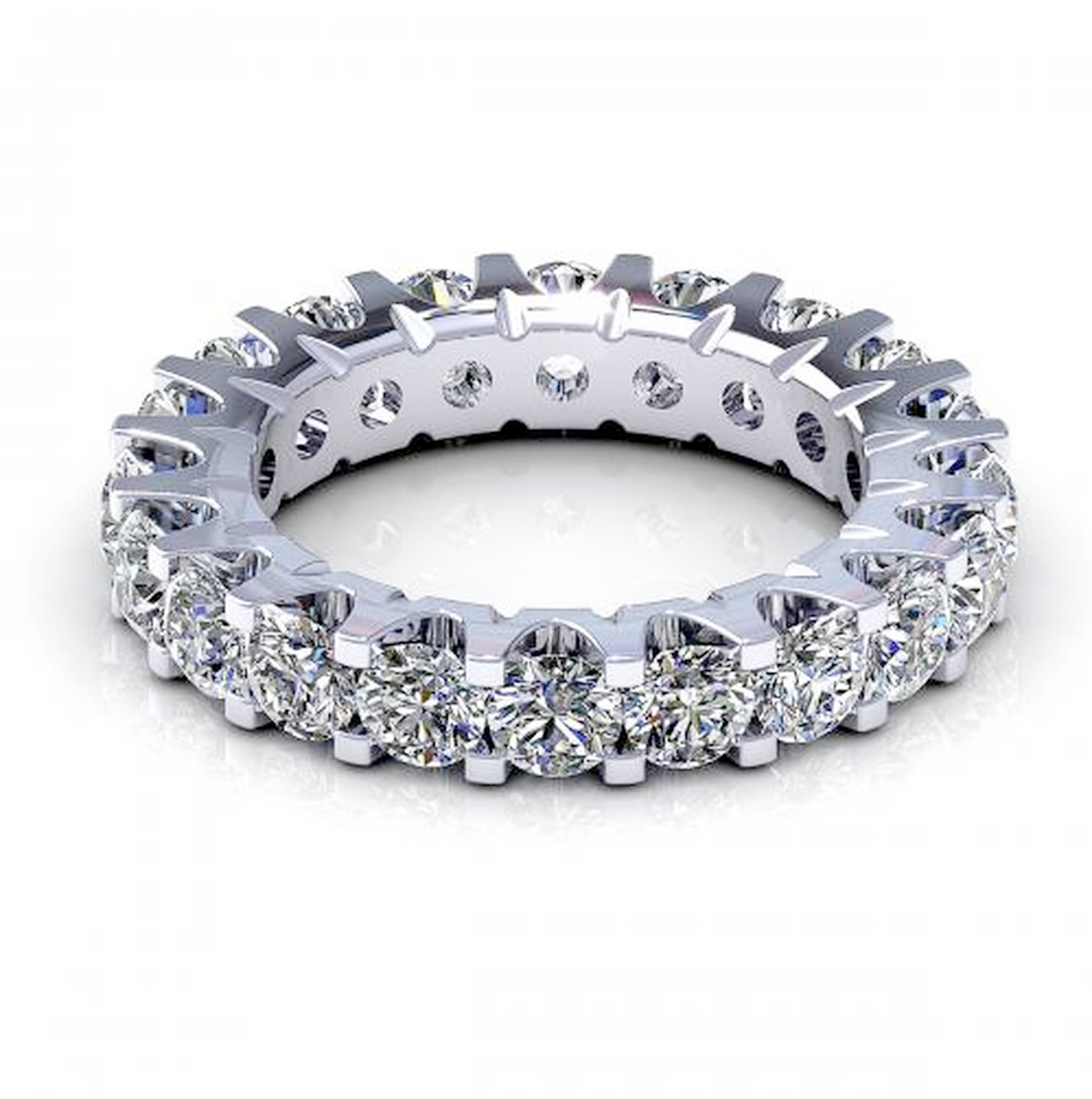 2.00CT TW Round Cut Diamond Eternity Ring 18K Gold