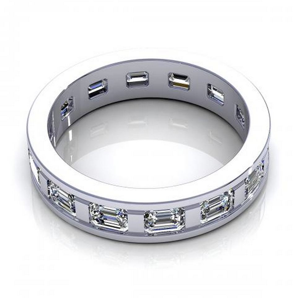 1.95CT TW Emerald Cut Diamond Eternity Ring 18K Gold