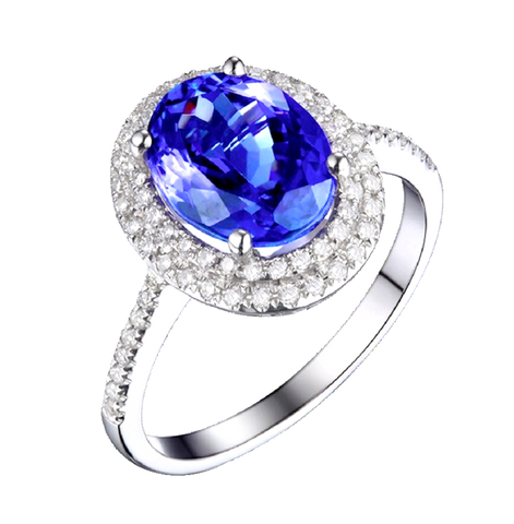 Natural Tanzanite Diamond Ring in 18K Gold
