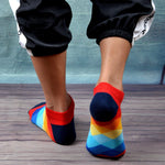 SANZETTI 12 Pairs/Lot Men's Casual Summer Ankle Socks Colorful Happy Funny Combed Cotton Short Socks Wedding Party Dress Socks