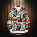 Boys' Men's USA Number Plates Printed Hoodie Sweatshirt