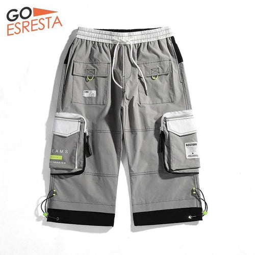 GOESRESTA 2020 Summer Shorts Men Casual  Bermuda Hip Hop Cargo Shorts Knee Length Black Reflective Tooling Drawstring Shorts Men