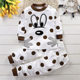 Babies Kids Cartoon Print Cotton Pajama Set - C
