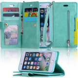 iPhone All Models Zipper Wallet Credit Card Purse Protective Case Cover