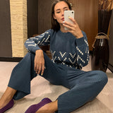 WinterThick Warm Women Sweater Knitted Drape Wide-Leg Pant Suit Two Piece Sets