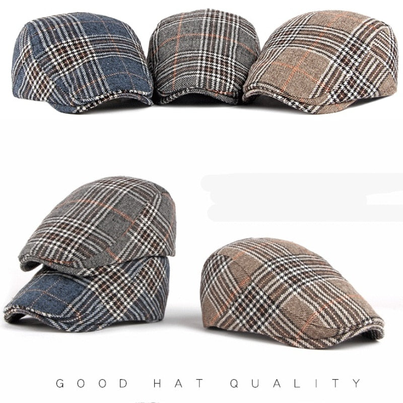 Men Plaid Checked Cotton Flat Scally Cap Derby Duckbill Hat