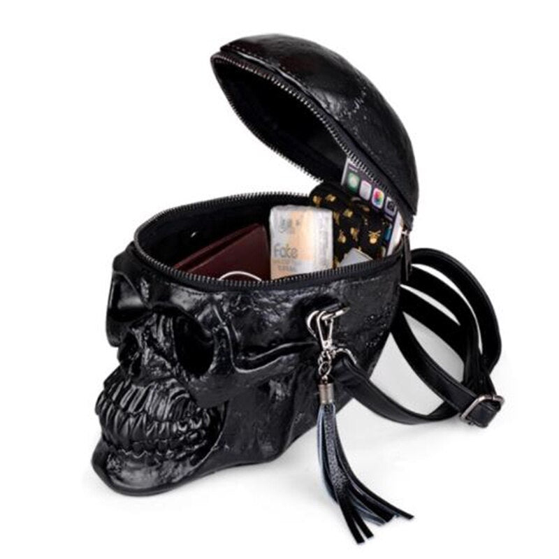 Originality Women Bag Funny Skeleton Head Black handbag Men Single Package Fashion Designer Satchel Package Skull Bags