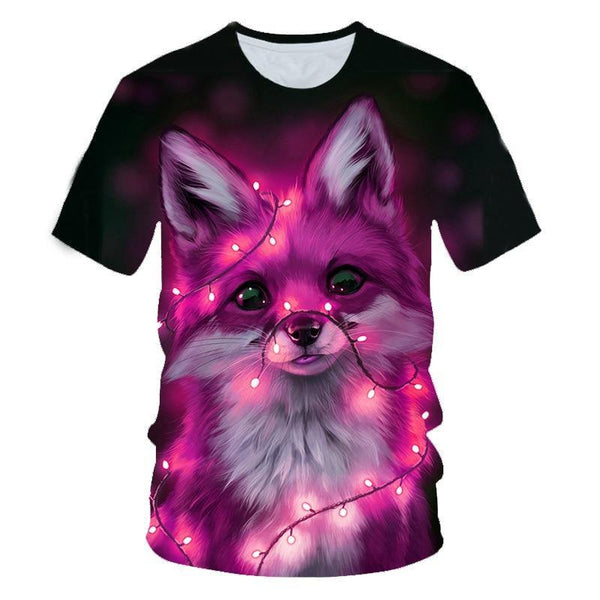 3D Animal Cute Fox Face Printed Colorful T shirts For Kids