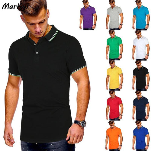 MarKyi Short Sleeve Polo Shirt Men 2020 Summer Casual & Business Good Quality Striped Polos Shirts Para Hombre
