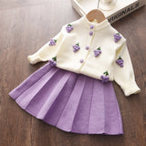 Baby Girls Knitted Sweet Outfit Sweater and Skirt Set-A