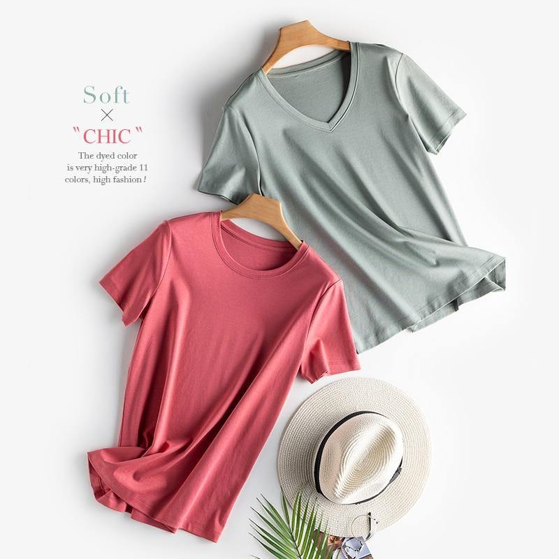 2020 High-end Fabric Women Silk & Mercerized Cotton T-shirt Luxury Tee Short Sleeve Silk Feeling Summer Wear Vacation V / O-neck