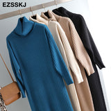 Sweater Dress Women Casual High Neck Straight Sweater Dresses