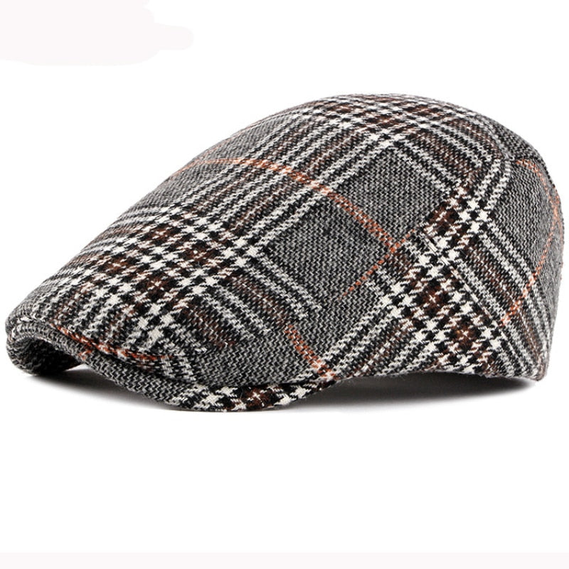 HT2836 Autumn Winter Hat Men Women Wool Beret Vintage Plaid Ivy Newsboy Flat Cap Retro Mens Berets Artist Painter Male Beret Hat