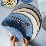 6pcs/set Round Ramie Insulated Solid Linen Table Coasters Pads Placemats Mats