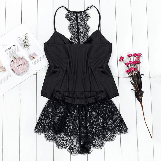 Suphis Black Pajama Set Women Satin Sleepwear Spaghetti Strap Camis Top Floral Lace Shorts Sexy Lingerie Pijama Femme