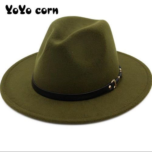 YOYOCORN  Wide Brim Simple Church Derby Top Hat Panama Solid Color Felt Fedoras Hat for Men Women artificial wool Blend Jazz Cap