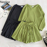 2Pcs Women V Neck Long Sleeve Knit Top With High Waist Elastic Leg Shorts