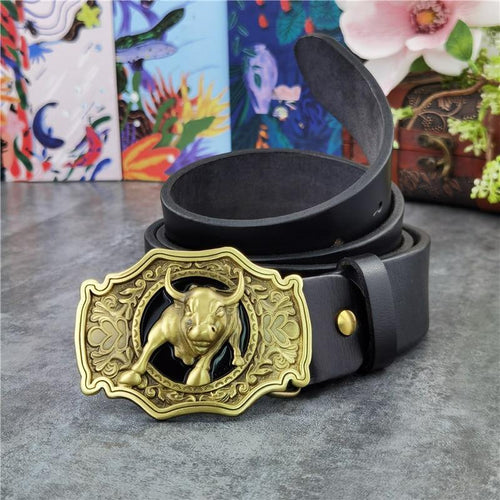 Brass Bull Cowboy Belt Buckle Men Belt Thick Genuine Leather Belt Men Ceinture Homme Cinturon Jeans Strap Waist Belt MBT0524