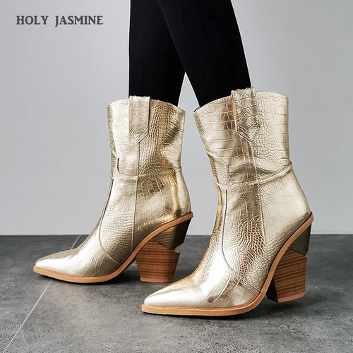2019 New Winter Cowboy Boots for Women High Heels Fur Inside Western Boots Ankle Boots for Women Fashion Gold Silver Shoes Woman