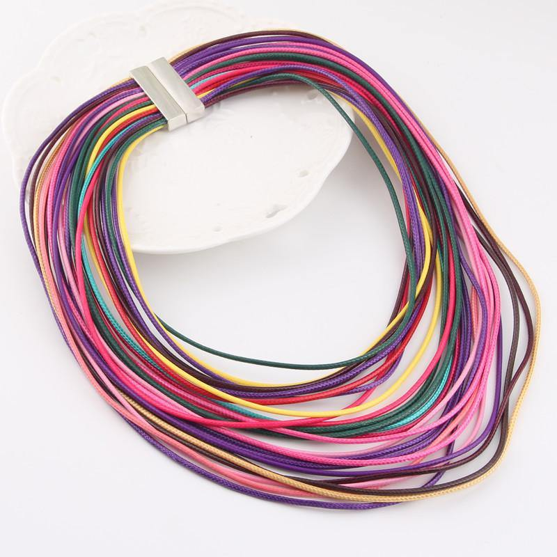 Women Multicolor Multilayer Rope Bohemia Long Necklace