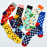 Men's High Quality 80% Cotton 5-10 Pairs Of Socks Colorful Dots Polka Socks