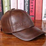 Cowhide JEEP Casual Baseball Cap Hat Leather Hat Male