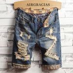 Men Denim Cotton Heavily Ripped Distressed Knee Length Shorts