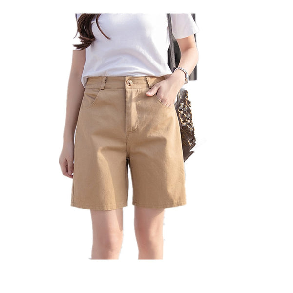 Women Candy Color Fashion Cotton Pocket Straight Shorts