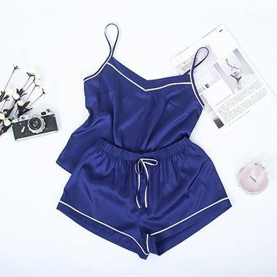 Women White/Blue Satin Cami Top and Shorts