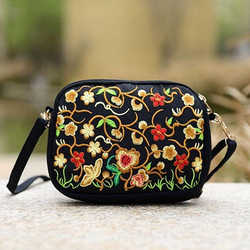 New Women National Style Flower Embroidery Canvas High Quality Shoulder Bag Messenger Bags China Trend 18x4x13CM