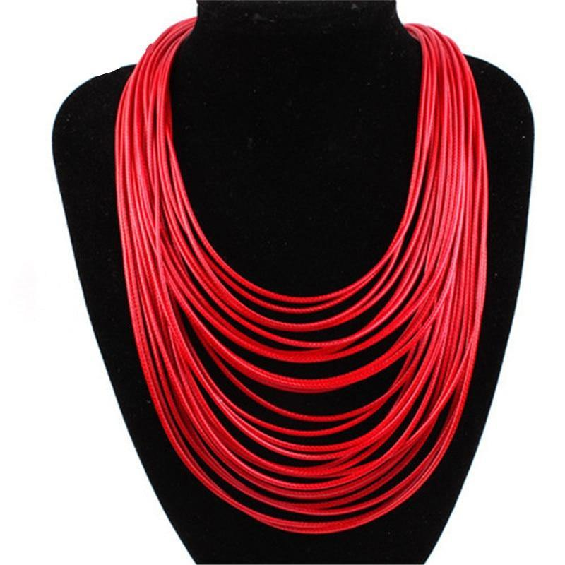 Hot Fashion Women Multicolor Necklace Multilayer Rope Bohemia Statement Jewelry Long Necklace for Women 3L5002