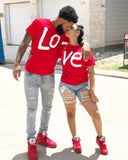 Red His and Hers Couple Love Matching Cotton T-shirts Tops