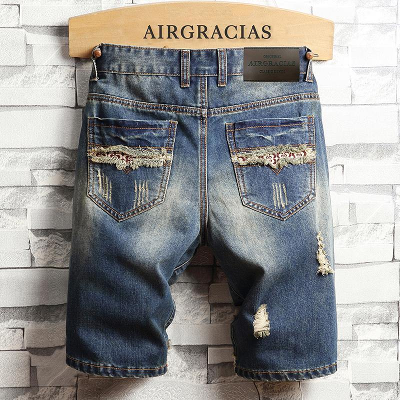 AIRGRACIAS Mens Ripped Short Jeans Brand Clothing Bermuda Cotton Shorts Breathable Denim Shorts Male New Fashion Size 28-40