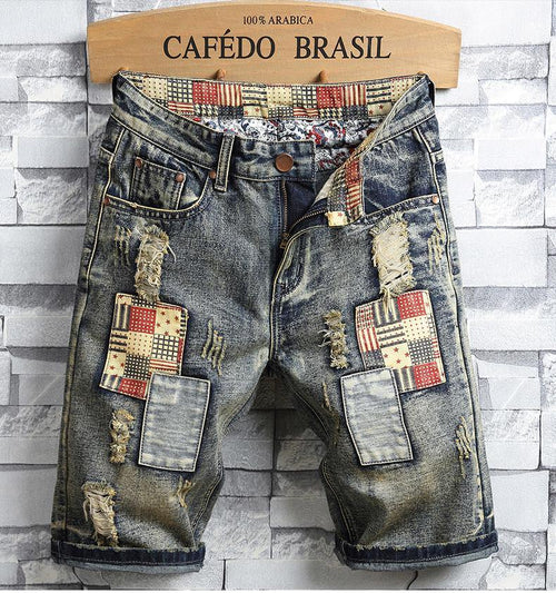 High Quality Men's Summer Holes Denim Shorts Men Straight Retro Short Jeans Men Knee Length Cowboy Jean Shorts Size 40