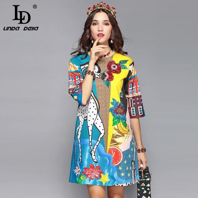 LD LINDA DELLA Runway Designer Summer Dress Women's Half Sleeve Luxury Sequin Animal Print Casual Loose Elegant Dress Vestidos