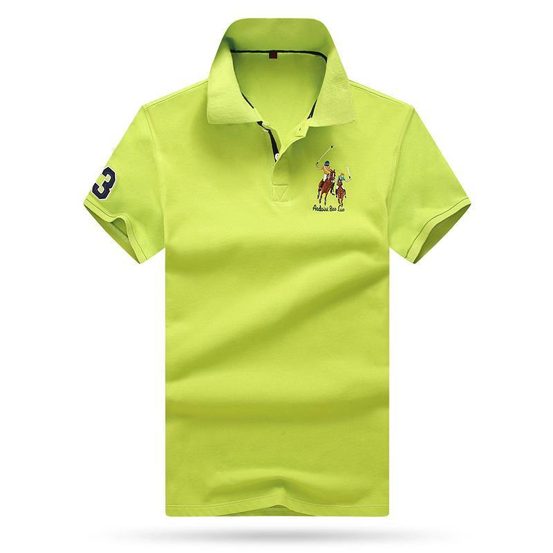 Men Light Colored Summer Cotton Polo Short Sleeve Shirt