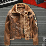 Men Velvet Thickened PU Leather Jacket