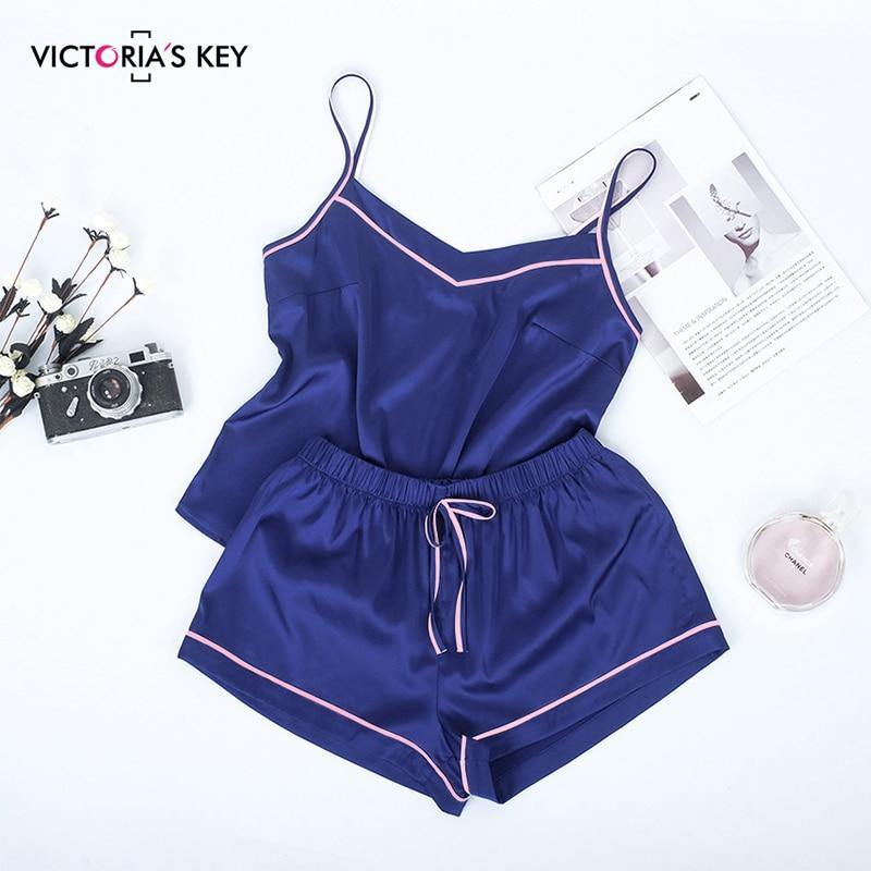 Suphis Contrast Stripe Side Navy Cami Top Satin Shorts Suits Female Summer Home Clothes Women Pajama Set Sexy Sleepwear