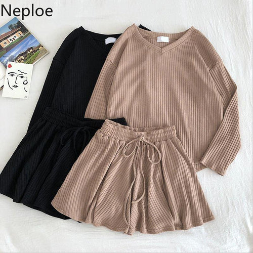 Neploe Casual Fashion 2 Pcs Women Set V Neck Long Sleeve Loose Knit Top + High Waist Hip Elastic Wide Leg Shorts Wild Suit 48994