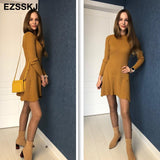 Sexy Short A-Line Thick Sweater Dress Elegant Knit Dress
