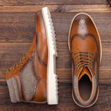 Men's Brogue High Quality Microfiber Comfortable Brown Ankle Boots