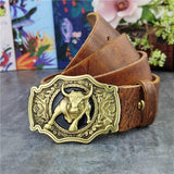 Men Bull Brass Buckle Cowboy Genuine Leather Belt