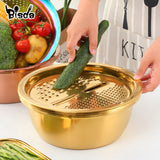 3Pcs Set Stainless Steel Drain Pot Strainer Basket Vegetable Slicer Food Chopper Vegetable Cutter Grater
