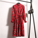 Vintage Long Sleeve Leopard Printed Party Dress Corduroy Dresses