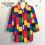 Patchwork Casual  Women's T-Shirts Tops