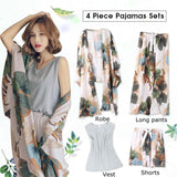 4 Piece Women Pajamas Sets Floral Print Viscose