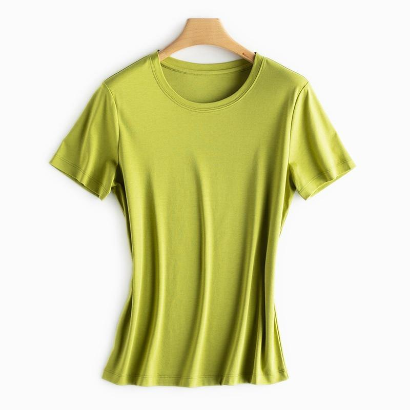 Women High-end Silk & Mercerized Cotton V/O-neck Tops (Color Set-2)